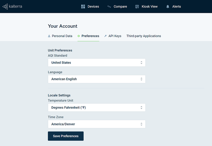 Account Preferences